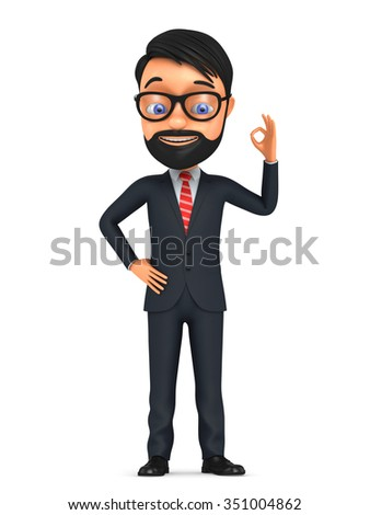 3d successful businessman isolated on white background. Man shows okay gesture. - stock photo