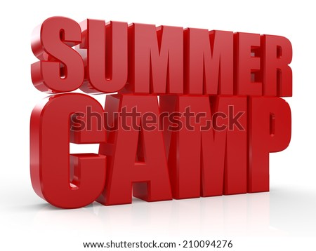 3D Summer Camp text on white background
