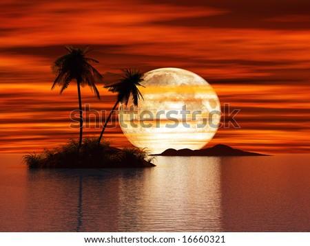 3D Sunset island - stock photo