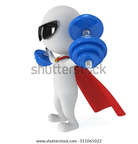 3d superhero with blue dumbbells and  sunglasses. 3d render isolated on white background. Workout concept