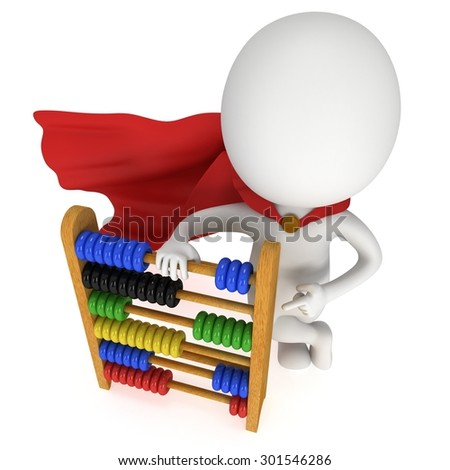 3d superhero with wooden colorful toy abacus learn counting. 3d render isolated on white. Education concept. - stock photo