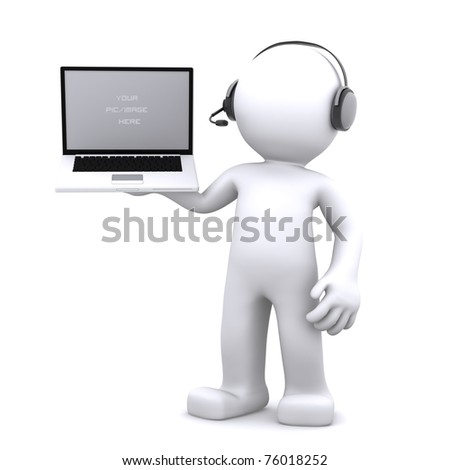 3d Support phone operator in headset rendered on white background - stock photo