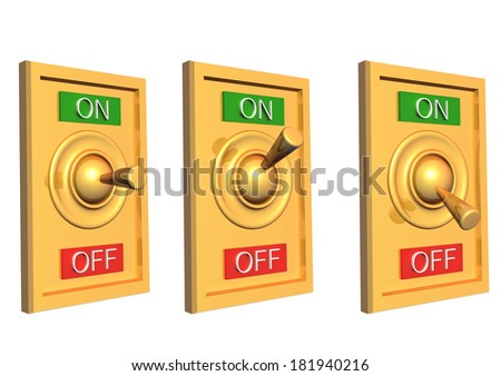 3d switch. Objects isolated on white background - stock photo