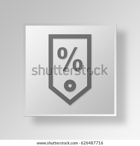 3D Symbol Gray Square sales tag icon Business Concept
