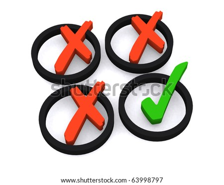 3d symbol yes and no on white isolated background - stock photo