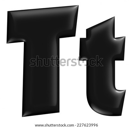 3D T alphabet with small later in black on isolated white background. - stock photo