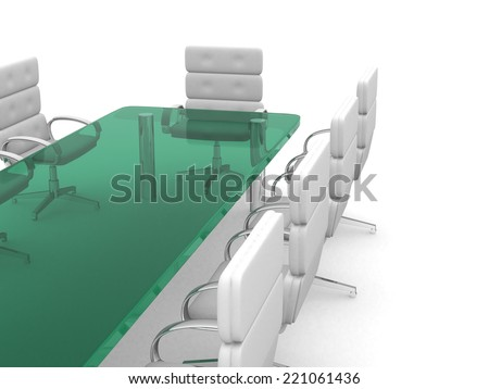 3d table conference room, isolated on white. 3d render illustration - stock photo