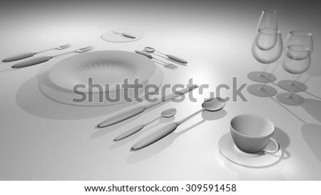 3 D Table Setting Etiquette Stock Illustration 309591458 - Shutterstock