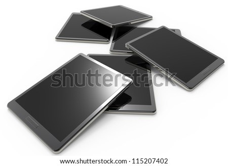 3d tablet pc on white background - stock photo