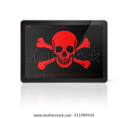 3D Tablet PC with a pirate symbol on screen. Hacking concept - stock photo