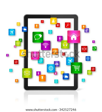 3D Tablet PC with flying apps icons - isolated - front view