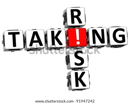 3D Taking Risk Crossword on white background - stock photo