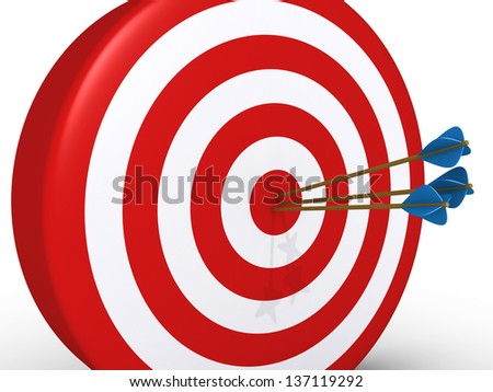 3d target and three arrows at the center