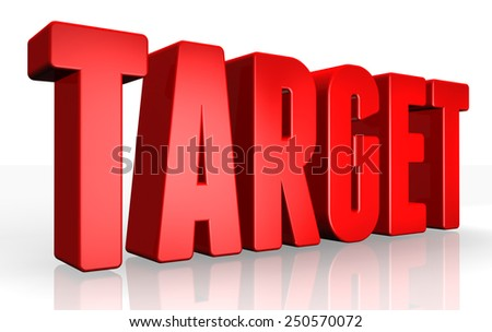 3D target text on white background