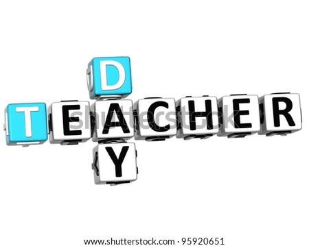 3D Teacher Day text Crossword on white background - stock photo