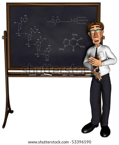 3d teacher teaching 4 cartoon - stock photo