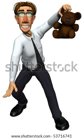 3d teacher teaching teddy bear - stock photo