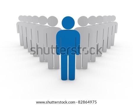 3d team leader boss company blue teamwork - stock photo