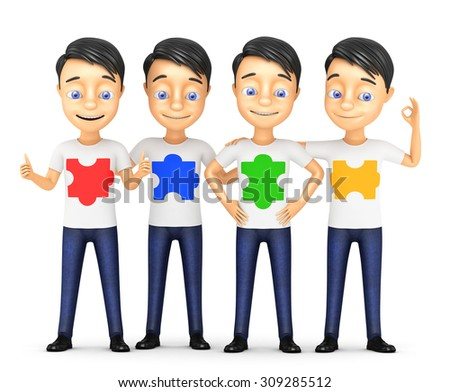 3d team of cheerful businessmen with puzzles - stock photo