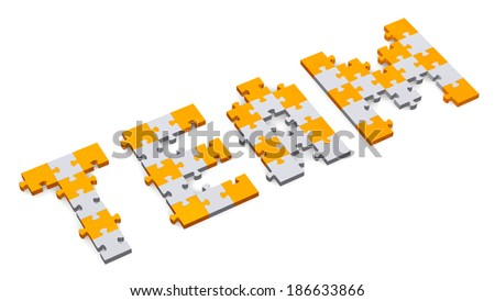 3d team text assembled of orange and grey puzzle pieces, perspective view