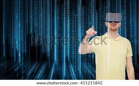 3d technology, virtual reality, programming, entertainment and people concept - young man with virtual reality headset or 3d glasses playing game over blue binary code numbers and black background - stock photo