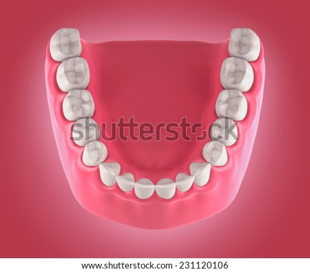 3D teeth or tooth illustration, top view - stock photo