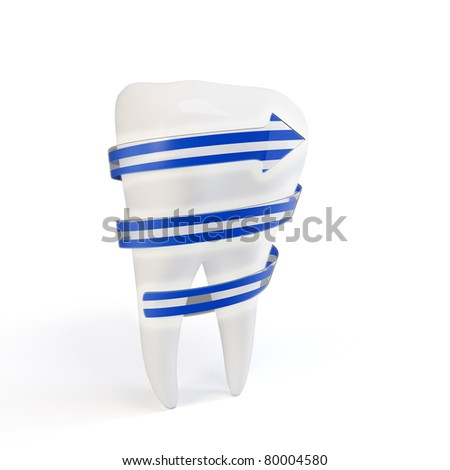 3d teeth protection concept isolated on white