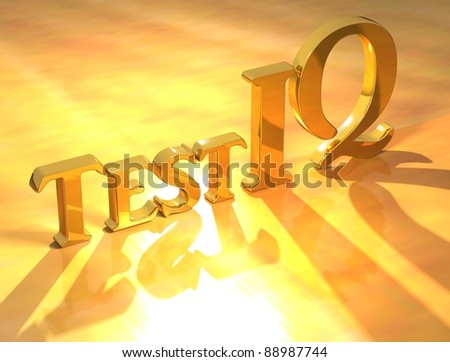 3D Test IQ Gold text on yellow background - stock photo