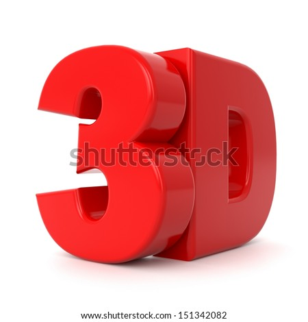 3D text in red color on mirror floor - stock photo