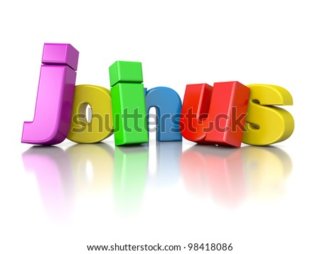3d text join us in rainbow colors - stock photo