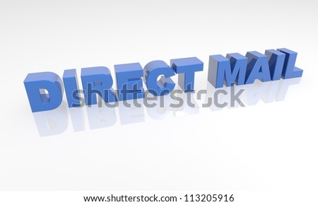 3d text with a white background and reflection - stock photo