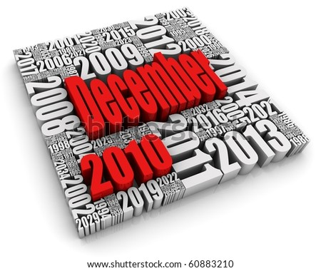 3D text with month surrounded by years. Part of a series of calendar concepts. - stock photo