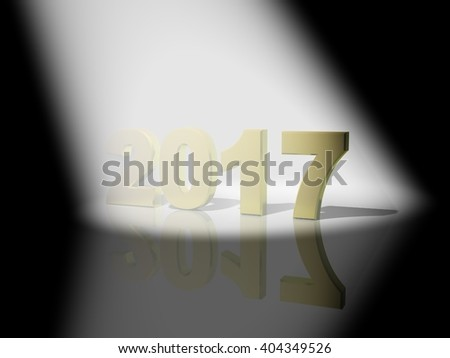 2017 3D text with volume light - stock photo