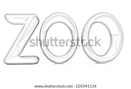 "3d text ""Zoo"" on a white background. Pencil drawing  - stock photo"