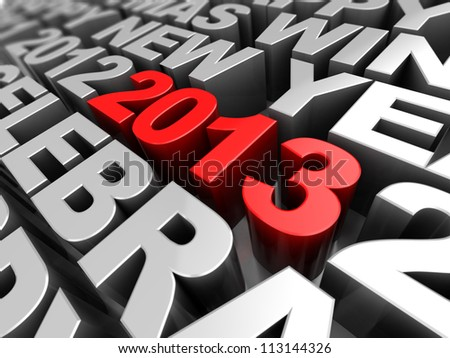 3d texts with symbol of new year- red 2013 in middle of grey words - stock photo