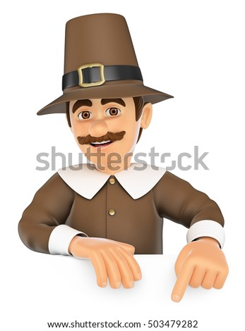3d thanksgiving people illustration. Man pointing down. Blank space. Isolated white background.