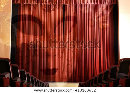 3d,The theater masks on stage - stock photo