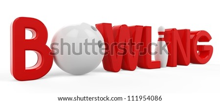 3D the word bowling, pins and ball on white background - stock photo