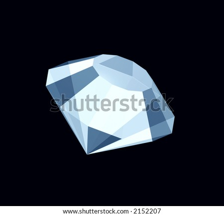 3D three-dimensional model of a brilliant or diamond separately from a background - stock photo