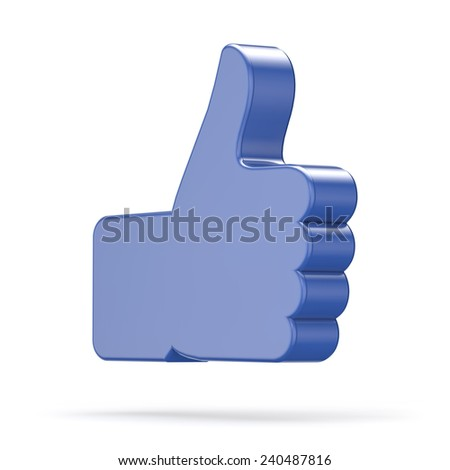 3d thumb like icon isolated white background with clipping path - stock photo