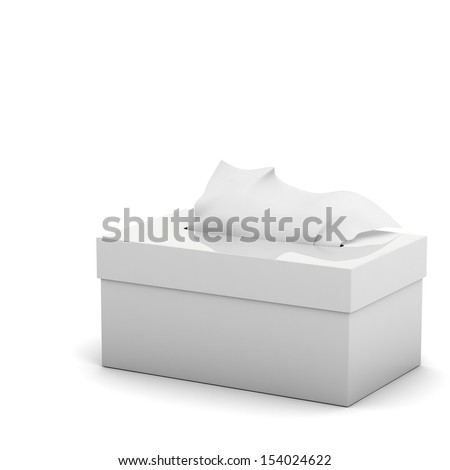 3d Tiissue box isolated - stock photo