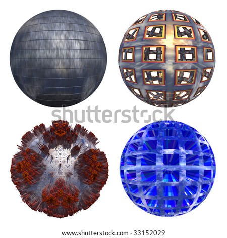 3d tiled grey and yellow metal spheres set or collection isolated on white,ideal for 3D symbols, web buttons or logo designs - stock photo