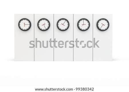 3d time zones wall with clocks on white background - stock photo