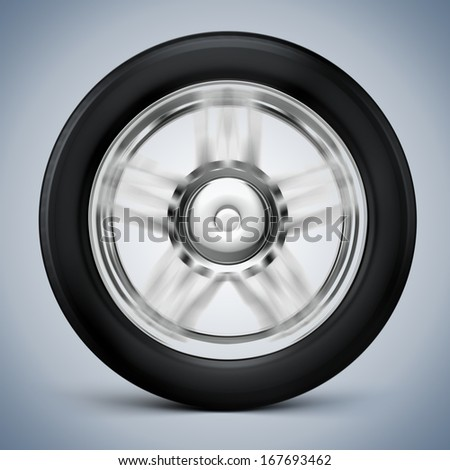 3d tire and alloy wheel  - stock photo