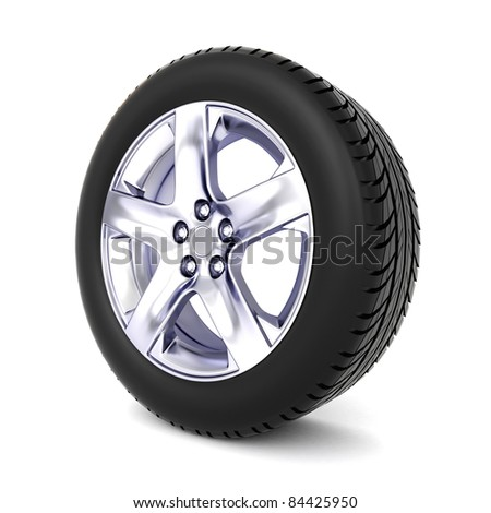 3D tire isolated on white background