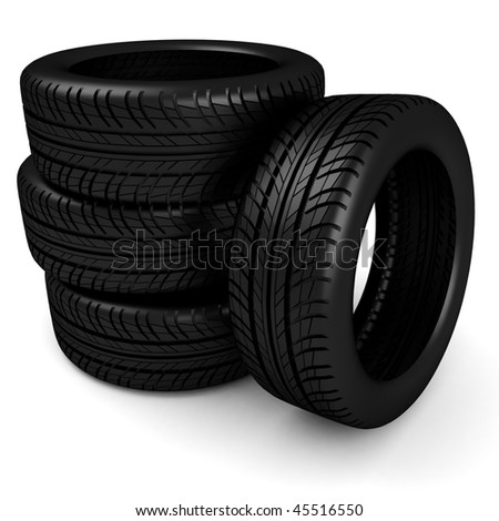 3d tires - stock photo