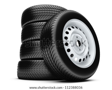 3d tires isolated on white background. - stock photo