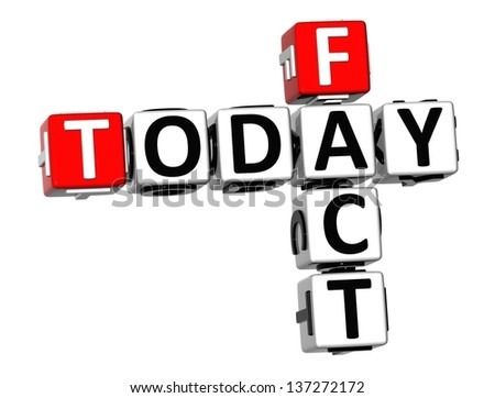 3D Today Fact Crossword on white background - stock photo
