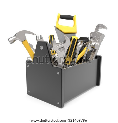3d toolbox isolated on white background - stock photo