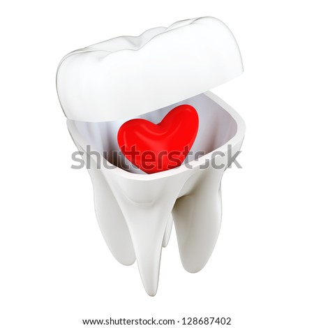 3D Tooth Heart Concept - stock photo